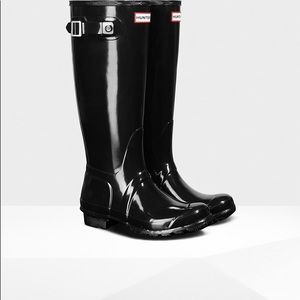 HUNTER RAIN BOOTS TALL GLOSSY BLACK